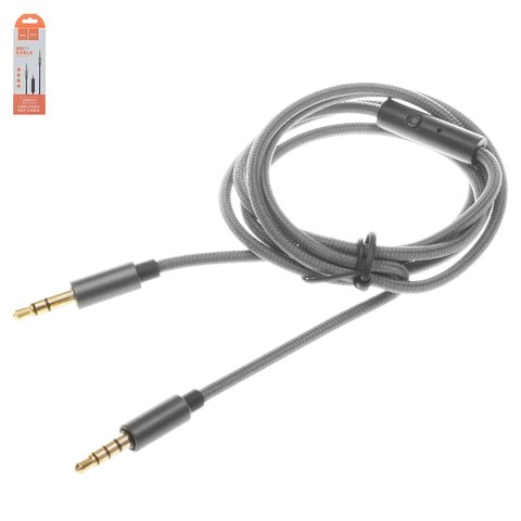 AUX кабель Hoco UPA04, TRS 3.5 мм, TRRS 3.5 мм, 100 см, сірий, з мікрофоном, в нейлоновому обплетенні