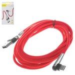 Cable USB Baseus, USB tipo-A, USB tipo C, 200 cm, rojo, para cargar el teléfono, en forma de L, con revestimiento de nylon, con indicador, 2 A, #CATMVP-E09